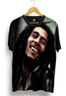 Camiseta Bsc Bob Marley Full Print - Masculino-Preto