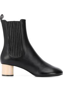 Jil Sander Ridged Panel Ankle Boots - Preto