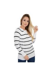 Blusa Feminina Listras Trançada Tricot Branco Preto Livora