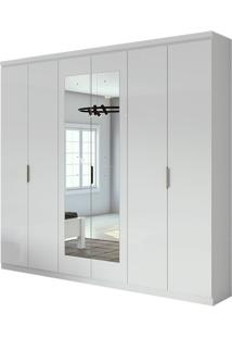 Guarda Roupa Alonzo Plus Com Espelho 6 Portas Branco