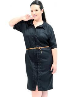 Vestido Vickttoria Vick Chemisier Rústico Com Bordados Plus Size