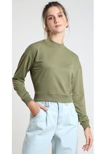 Suéter Feminino Básico Cropped Em Tricô Decote Redondo Verde Militar
