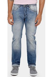 Calça Jeans Reta Razon Puídos Estonada Masculino - Masculino