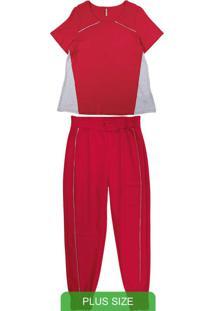 Conjunto Plus Size Com Blusa E Calça Vermelho