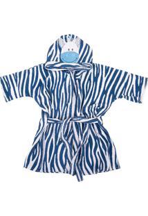 Roupão De Banho Infantil Com Capuz Atoalhado Zebra - 0 A 3 Anos