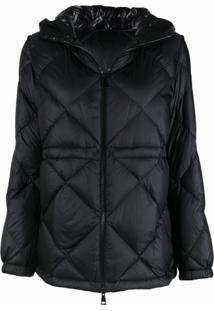 Moncler Diamond-Quilt Zip-Up Puffer Jacket - Preto