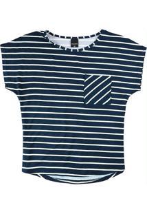 Blusa Azul Marinho Listrada Com Bolso
