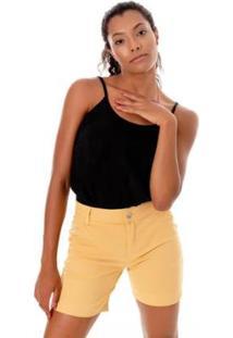 Bermuda Sisal Jeans Meia Coxa Color Feminina - Feminino-Amarelo