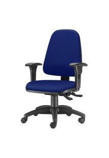 Cadeira Sky Presidente Com Bracos Assento Crepe Azul Base Nylon Arcada - 54807 Azul