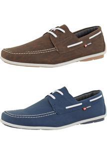 Kit Dockside Casual Sintético Sapatofran Lançamento Azul E Café Cr Shoes