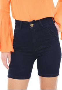 Bermuda Jeans Dimy Slim Recorte Azul-Marinho