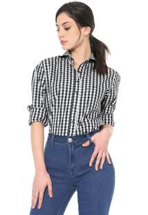 Camisa Dudalina Estampada Branca/Azul-Marinho