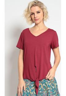Blusa Lisa Com Amarraã§Ã£O- Vermelho Escuro- Maclumaclu