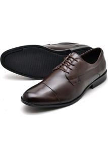 Sapato Social Couro Bico Arredondado Reta Oposta Masculino - Masculino-Marrom