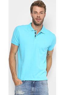 Camisa Polo Gangster Piquet Elastano Masculina - Masculino-Azul Claro