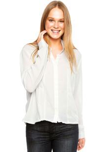 Camisa Calvin Klein Maxi Bolso De Tela Off-White
