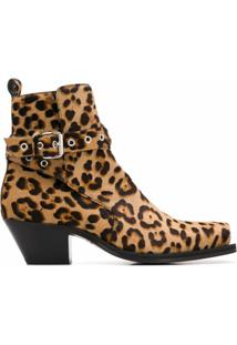 Versace Ankle Boot Com Estampa De Leopardo E Salto 60Mm - Marrom