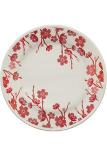 Prato Para Sobremesa Donna Jardim Oriental 18Cm Branco E Vermelho