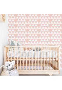 Papel De Parede Bebê Triângulo Rosa 3 Metros X 44 Cm