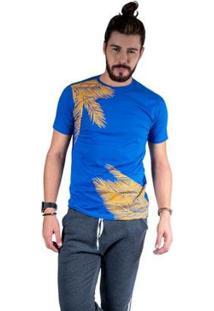 Camiseta Mister Fish Estampado Palmeiras Masculina - Masculino-Azul Royal
