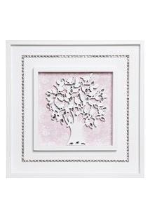 Quadro Árvore Da Vida Com Strass Bebê Infantil Potinho De Mel Rosa