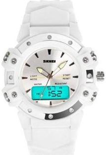 Relógio Skmei Anadigi Feminino - Feminino-Branco