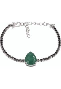 Pulseira Riviera Gota The Ring Boutique Pedra Cristal Verde Esmeralda Ródio Ouro Branco