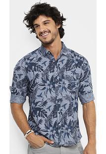 Camisa Pacific Blue Floral Hawaii Masculina - Masculino