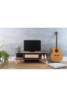 Rack Para Tv Pequeno Stills Freijó E Preto Com Taeda 108X33,6X35,5Cm