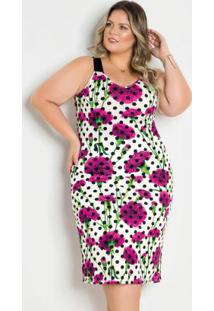 Vestido Midi Com Fendas Poá E Floral Plus Size