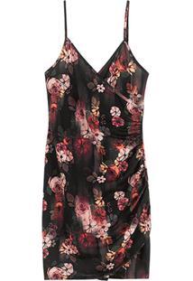 Vestido Estampado Curto Floral Em Moletom