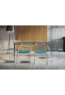 Conjunto Mesa 328 Vidro Incolor Cromada Com 6 Cadeiras 1712 Turquesa Carraro