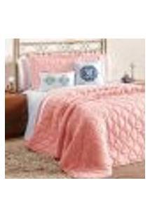 Kit Cobre Leito Rosê King 7 Peças Com Almofada Decorativa E Porta Travesseiro
