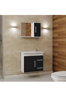 Gabinete De Banheiro Com Cuba E Espelheira 2 Portas 2 Gavetas Vix Mgm Móveis Branco/Preto