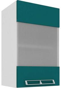 Armário Aéreo Com 1 Porta De Vidro 40X66 Branco E Verde Mia Coccina Art In Móveis