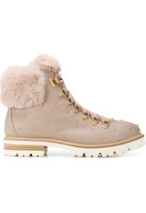 Agl Ankle Boot Com Cadarço - Rosa