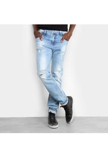 Calça Jeans Skinny Sawary Lavagem Clara Estonada Masculina - Masculino