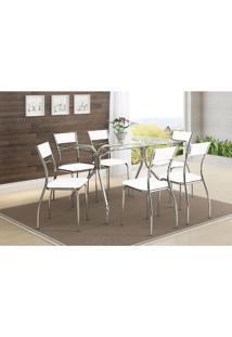 Mesa 387 Com Vidro Incolor Cromada Com 6 Cadeiras 1701 Branca Carraro