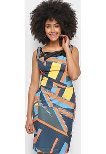 3c23f702c ... Vestido Morena Rosa Tubinho Estampa Geométrica - Feminino-Laranja+Azul
