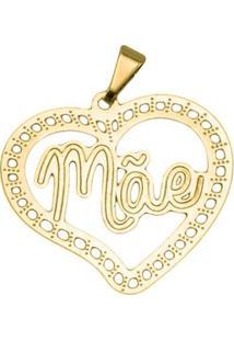 Pingente Coração Mãe Tudo Joias Folheado A Ouro 18K - Feminino-Dourado