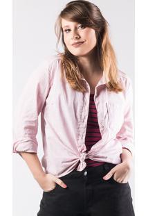 Camisa Feminina Em Tecido De Algodão Texturizado Folha