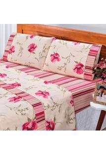 Jogo De Cama Queen Requinte 3 Peças 180 Fios Percal Bia Enxovais Floral Rose