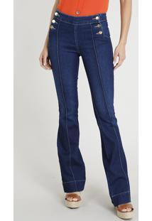 a478c67da ... Calça Jeans Feminina Sawary Flare Com Frisos Azul Escuro