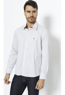 Camisa Slim Fit Com Pespontos- Cinza Claro & Bordã´Vip Reserva