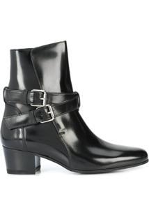 Amiri Ankle Boot De Couro Com Fivelas - Preto