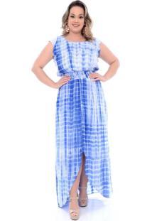 Vestido Tie Dye Longo Azul Plus Size