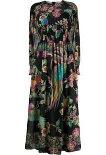 Redvalentino Vestido Mangas Longas Com Estampa De Floresta - Preto