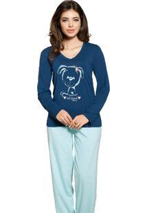 Pijama Vincullus Inverno Listrado Azul