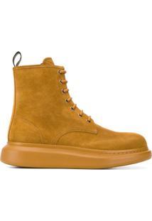 Alexander Mcqueen Ankle Boot Com Amarração - Neutro
