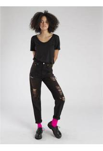 Calça Jeans Amapô Mom'S Destroyed Nanquim Feminina - Feminino